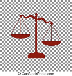 Scales of Justice sign. Maroon icon on transparent background.