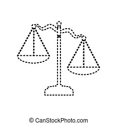 Scales of Justice sign. Vector. Black dashed icon on white background. Isolated.