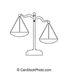 Scales of Justice sign. Vector. Black dotted icon on white background. Isolated.