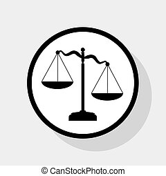 Scales of Justice sign. Vector. Flat black icon in white circle with shadow at gray background.