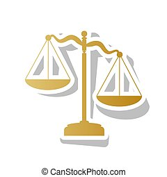 Scales of Justice sign. Vector. Golden gradient icon with white