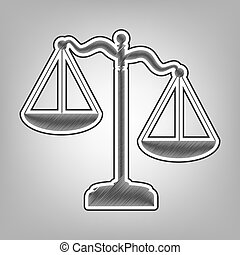 Scales of Justice sign. Vector. Pencil sketch imitation. Dark gray scribble icon with dark gray outer contour at gray background.