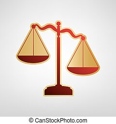 Scales of Justice sign. Vector. Red icon on gold sticker at light gray background.