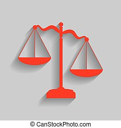 Scales of Justice sign. Vector. Red icon with soft shadow on gray background.