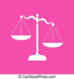 Scales of Justice sign. White icon at magenta background.