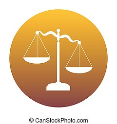 Scales of Justice sign. White icon in circle with golden gradien