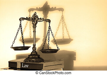 Symbol of law and justice with shadow, law and justice concept, focus on the scales