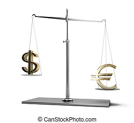 Scales of justice with euro and dollar symbols