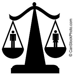 sexual equality - scales of justice with man and woman -...