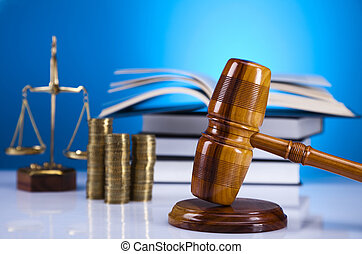 Scales of Justice,judge gavel,coins - Law and justice...