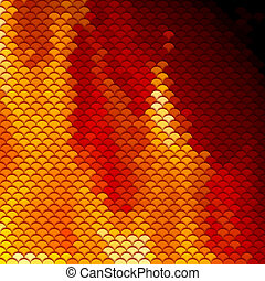 Scales pattern in red and orange shades