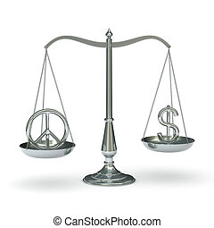 Scales peace and dollar symbol