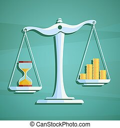 Scales with a heap gold coins and hourglass. Stock vector illust