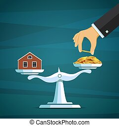 Scales with a house and gold coins. Buy real estate. Stock vector illustration.