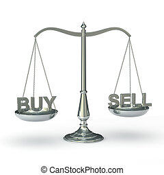 Scales with buy and sell words - classic scales of justice...