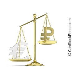Isolated golden scales with silver euro and golden ruble currency. Russian and european finance. Measuring of market stability. 3D rendering.