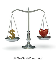Scales with dollar symbol and heart