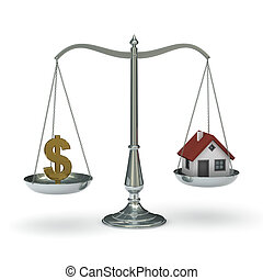 Scales with dollar symbol and house