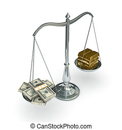 Scales with dollars and gold bars - classic scales of...