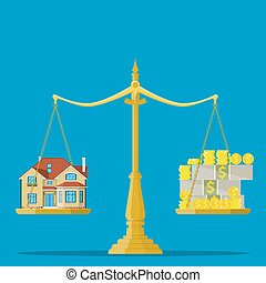 Scales with house and money. Real estate, rental, expense,...