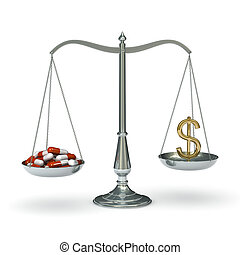 Scales with pills and dollar symbol