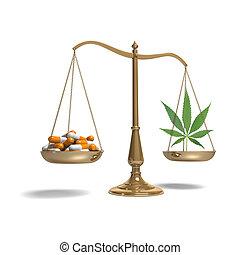 Scales with pills and marijuana