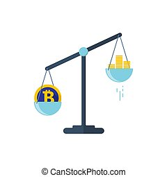 Scales with two bowls. On one side of the scale is money, on the second scale is bitcoin. Vector illustration Flat design