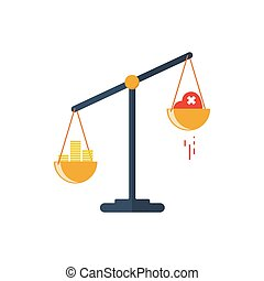 Scales with two bowls. On one side of the scale is money, on the second scale is red heart. Vector illustration Flat design