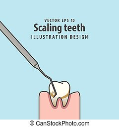 Scaling teeth illustration vector on blue background. Dental concept.