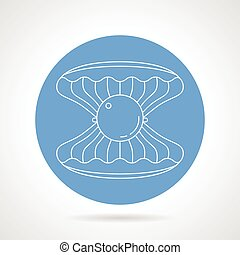 Scallop blue round vector icon