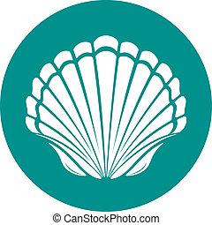 Scallop sea shell symbol vector illustration