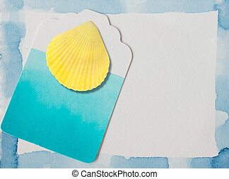Scallop seashell and blue watercolor frame