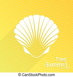 Scallop seashell - Summer time card with white scallop...