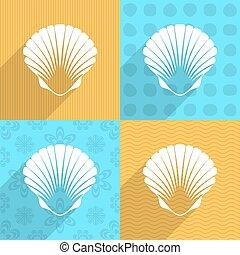 Scallop seashell icon