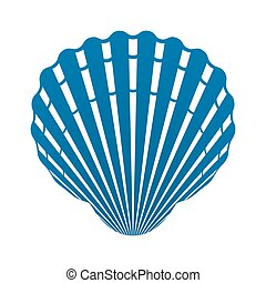 Scallop seashell of mollusks icon sign isolated vector...