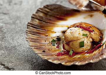 Single grilled sea scallop in its shell, over stone background.