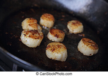 Scallops fried in pan