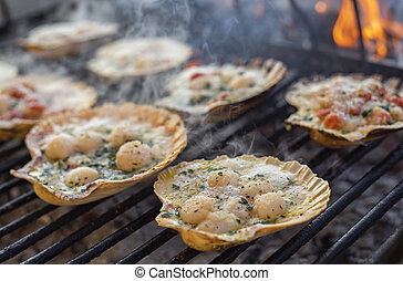 Scallops Grilled cooking 2