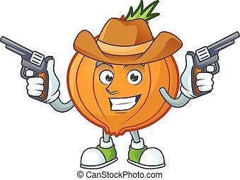 scalogno, presa a terra, cowboy icona, sorridente, pistole, mascotte