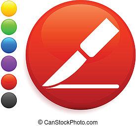 scalpel icon on round internet button original vector...
