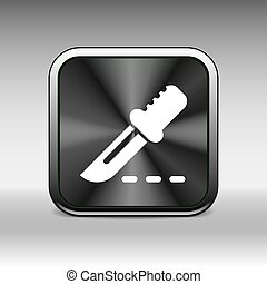 Scalpel Icon on Square Black Internet Button.