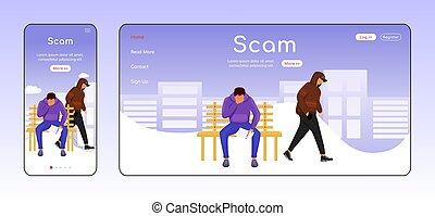 Scam adaptive landing page flat color vector template. ...