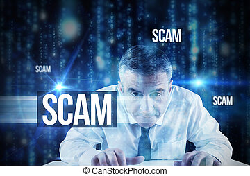 Scam against lines of blue blurred letters falling - The...