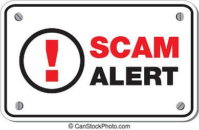 scam, alerta, retângulo, sinal