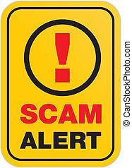 scam, alerte, -, signe jaune