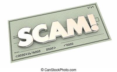 scam, bedrägeri, pengar, stöld, stöld, ord, kontroll, 3, illustration