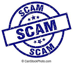 scam blue round grunge stamp
