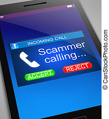 Scam caller concept. - Illustration depicting a phone with a...