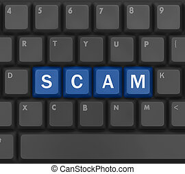 scam - Scam Computer Keys Showing Swindles And Fraud, 3d...