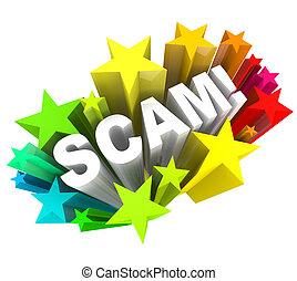 scam, estafador, dinero, estafa, juego, palabra, usted, estafar, afuera, 3d